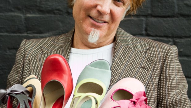 John Fluevog with some of his creations. His work is currently being featured at the Museum of Vancouver.