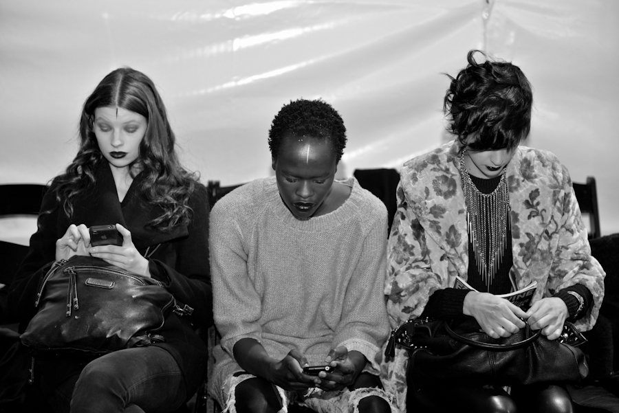 Models backstage at Laura Siegel's show last season.