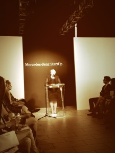 JoAnne Caza welcomes audience at the latest Mercedes-Benz StartUp semi-final, which took place in Kitchener, Canada.