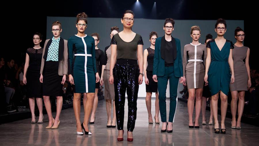 Rachel Sin with models at her fall/winter 2013 runway show presentation at Montréal Fashion Week. Photo: Aleyah Solomon.