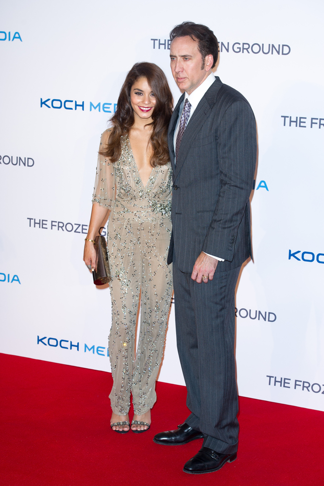 "Vanessa Hudgens at the ""Frozen Ground"" premiere, wearing Jenny Packham."