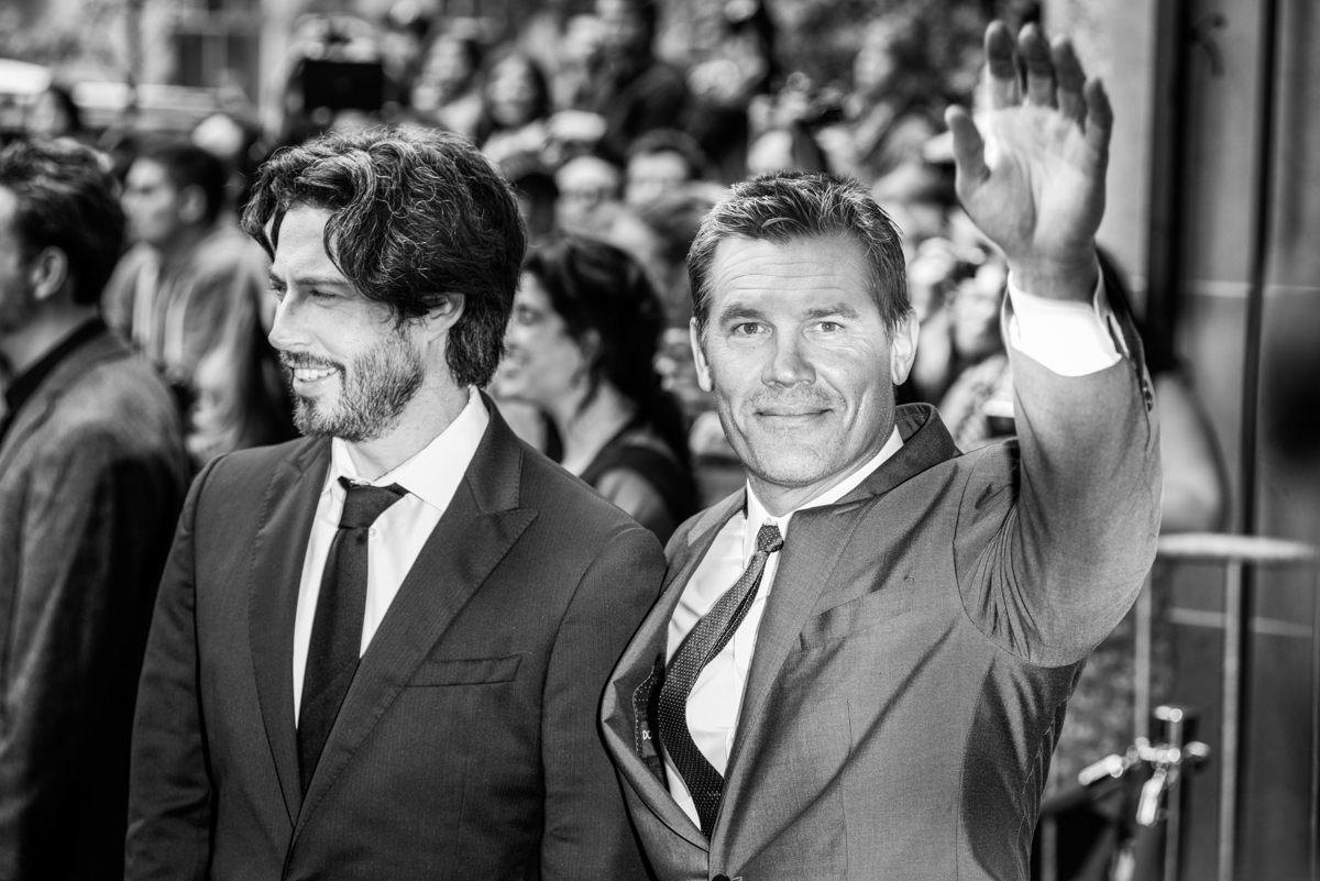 Jason Reitman (left) and Josh Brolin on the Red Carpet, heading into the Labor Day premiere.