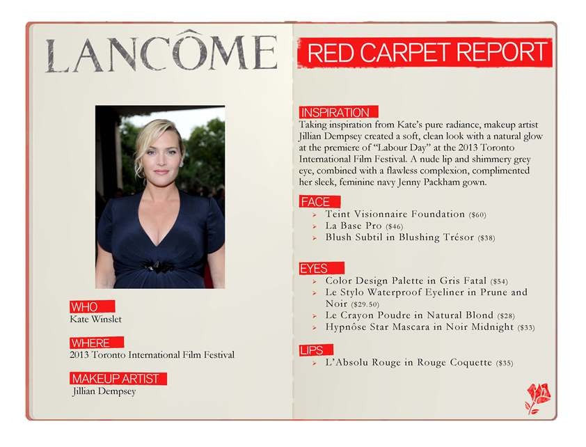 Getting Kate Winslet's Red Carpet look with Lancôme.