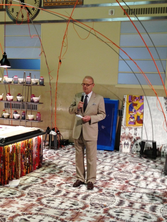 CEO Patrick Thomas delivers his quick speech at the Hermès exhibit launch.