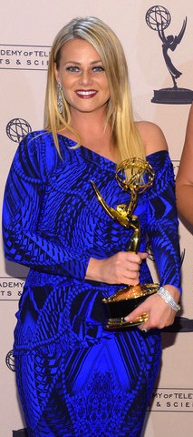 Toybina with her Emmy Award earlier this year.