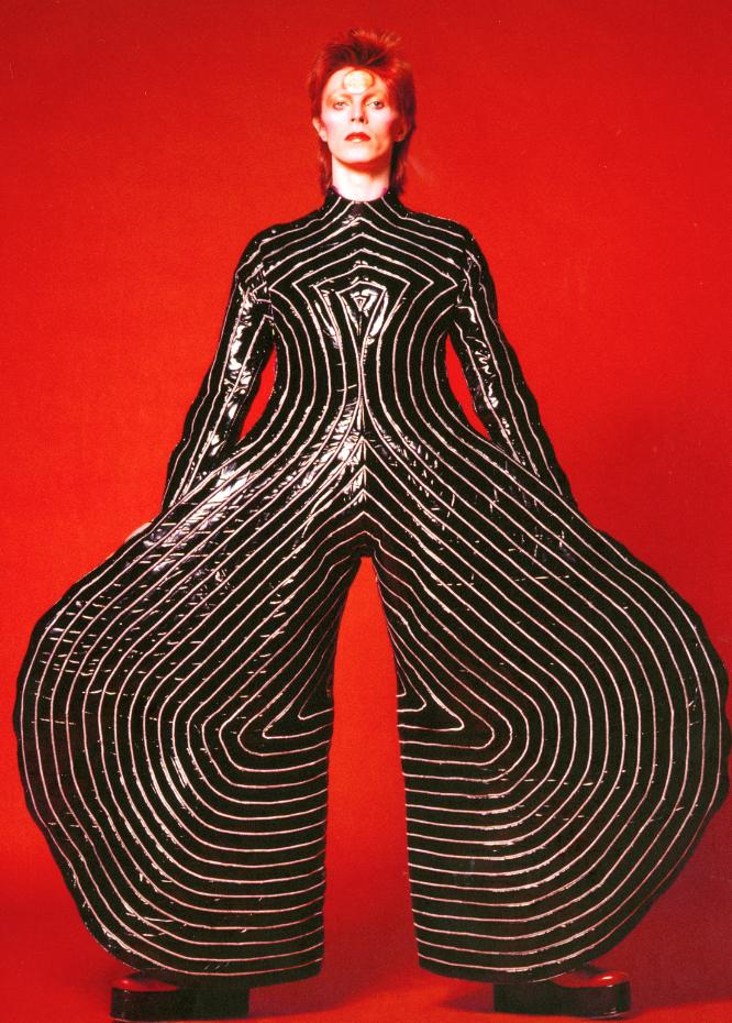 Striped bodysuit for the Aladdin. Sane tour, 1973. Design by Kansai Yamamoto. Photograph by Masayoshi Sukita © Sukita / The David Bowie Archive.