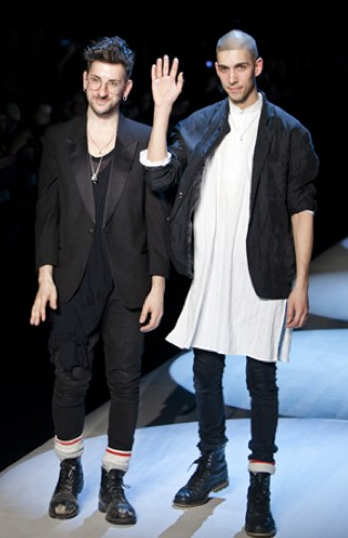 The duo behind Unttld at World MasterCard Fashion Week, fall/winter 2013. Photo: Robin Gartner.