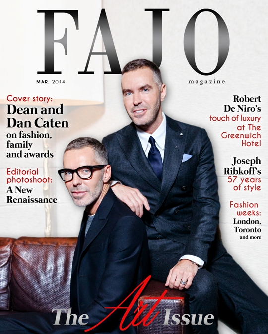 Dean and Dan Caten on the cover of The Art Issue. Photo by Robin Gartner. Graphic design by Kalynn Friesen.
