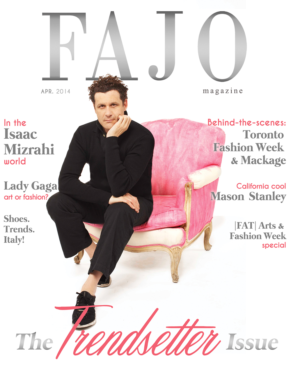 Isaac Mizrahi on the cover of our April issue. Graphic design by Kalynn Friesen.