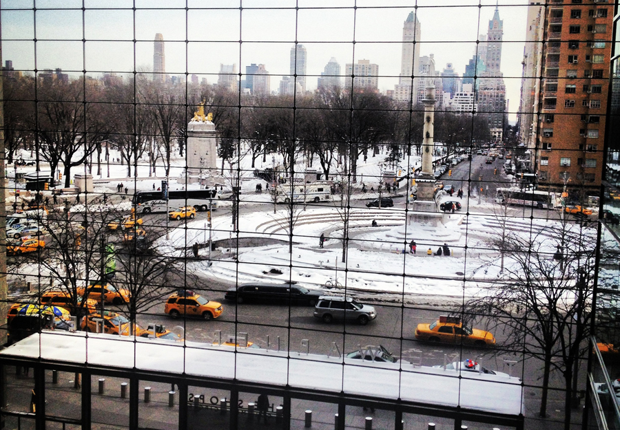 Winter or summer, the Columbus Circle is always busy.
