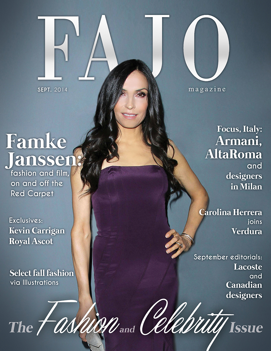 Famke Janssen on The Fashion and Celebrity Issue cover this month. Photo: s_bukley / Shutterstock.com Graphic design: Kalynn Friesen.