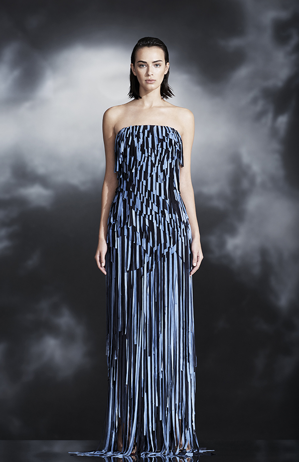 """Our concept for separates is that they come together to create a gown,"" says Mirano. ""So it looks like one piece, but you can take them apart, and you have three outfits for the price of one. It gives a woman a fantasy and a deal in store."""