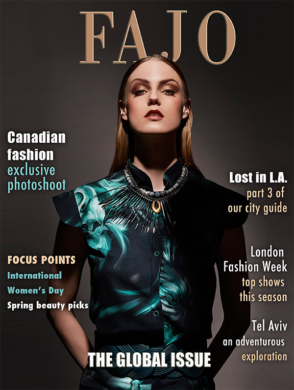 Cover of The Global Issue this month. Necklace - Monoxide Style, neckpiece - Toknii, top - Lesley Hampton.