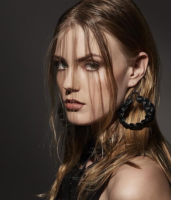 Earrings - Tonkii, choker - Toknii, top - Lesley Hampton.