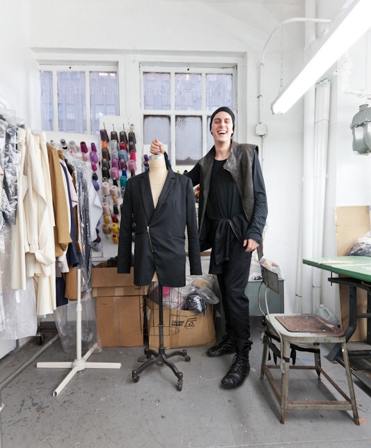 Sid Neigum at the production house in New York where all the clothes for his collections are made.