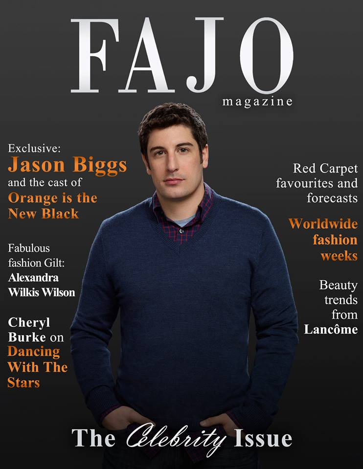 Jason Biggs and OINTB on the cover of our September issue. Graphic design: Kalynn Friesen, FAJO Magazine. Photo: Photo credit: Jill Greenberg for Netflix.